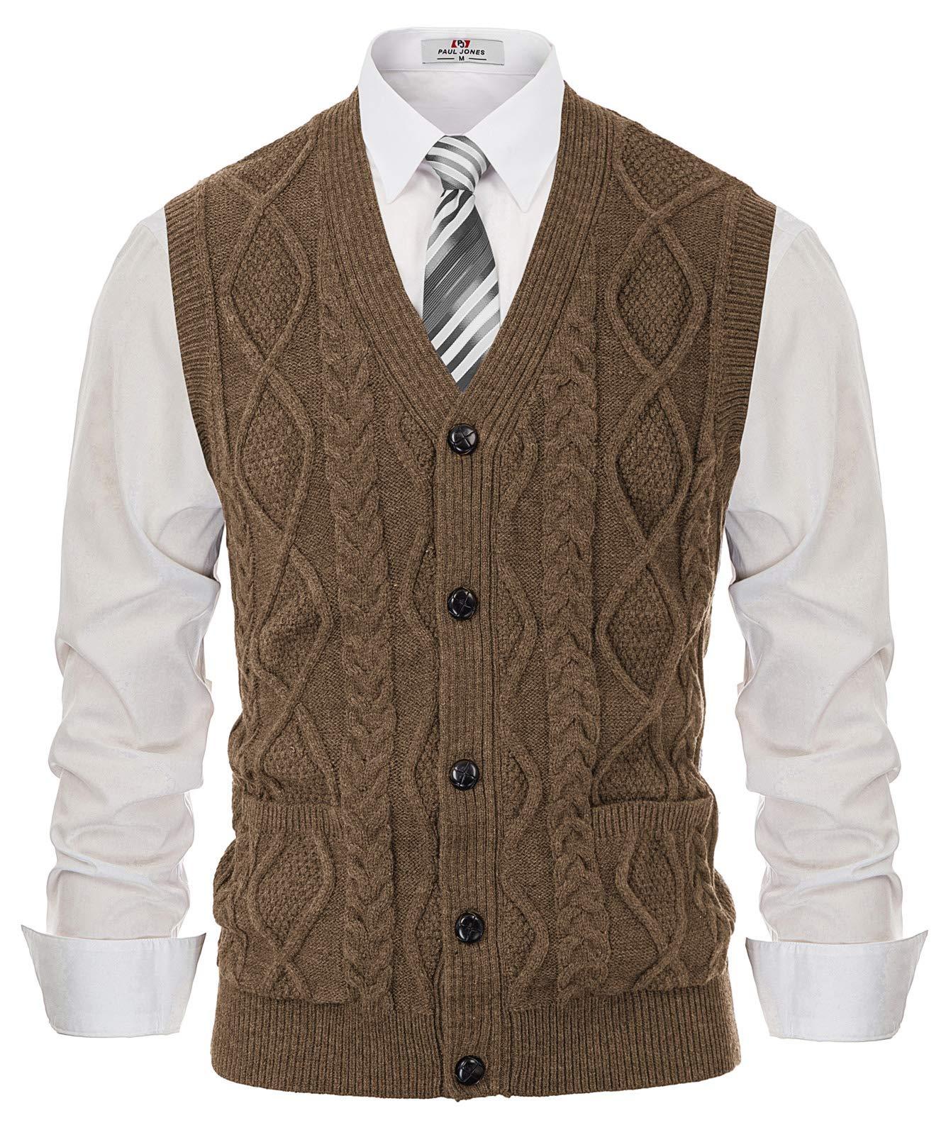 Men's Casual V-Neck Sweater Vest Knitwear Cardigan Waistcoat Coffee S by PJ PAUL JONES