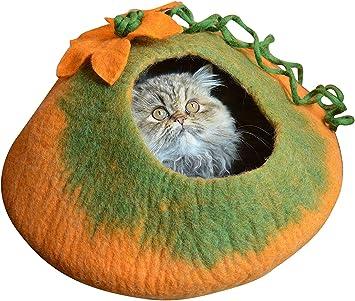 Amazon.com: La mejor cama tipo cueva para gato, lana merino ...