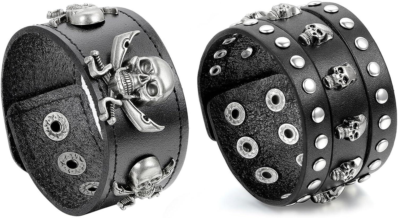 Oidea - Juego de 3 pulseras de piel para hombre, estilo punk rock de 3,5 cm a 4,1 cm de ancho, trenzadas a mano, cadena de cordón, botón de presión, pulsera, aleación, marrón y plata