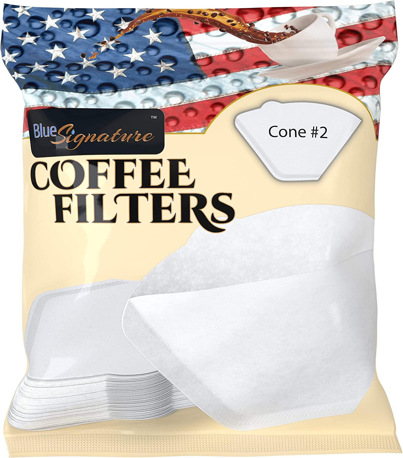 Coffee Filters #2 Cone, 40 Premium Pour Over Coffee Filter White Paper, für 1 Cup Drip & 2 zu 6 Cup Brewers