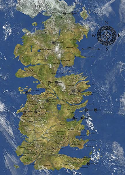 Game Of Thrones Collection Seven Kingdoms Of Westeros Map