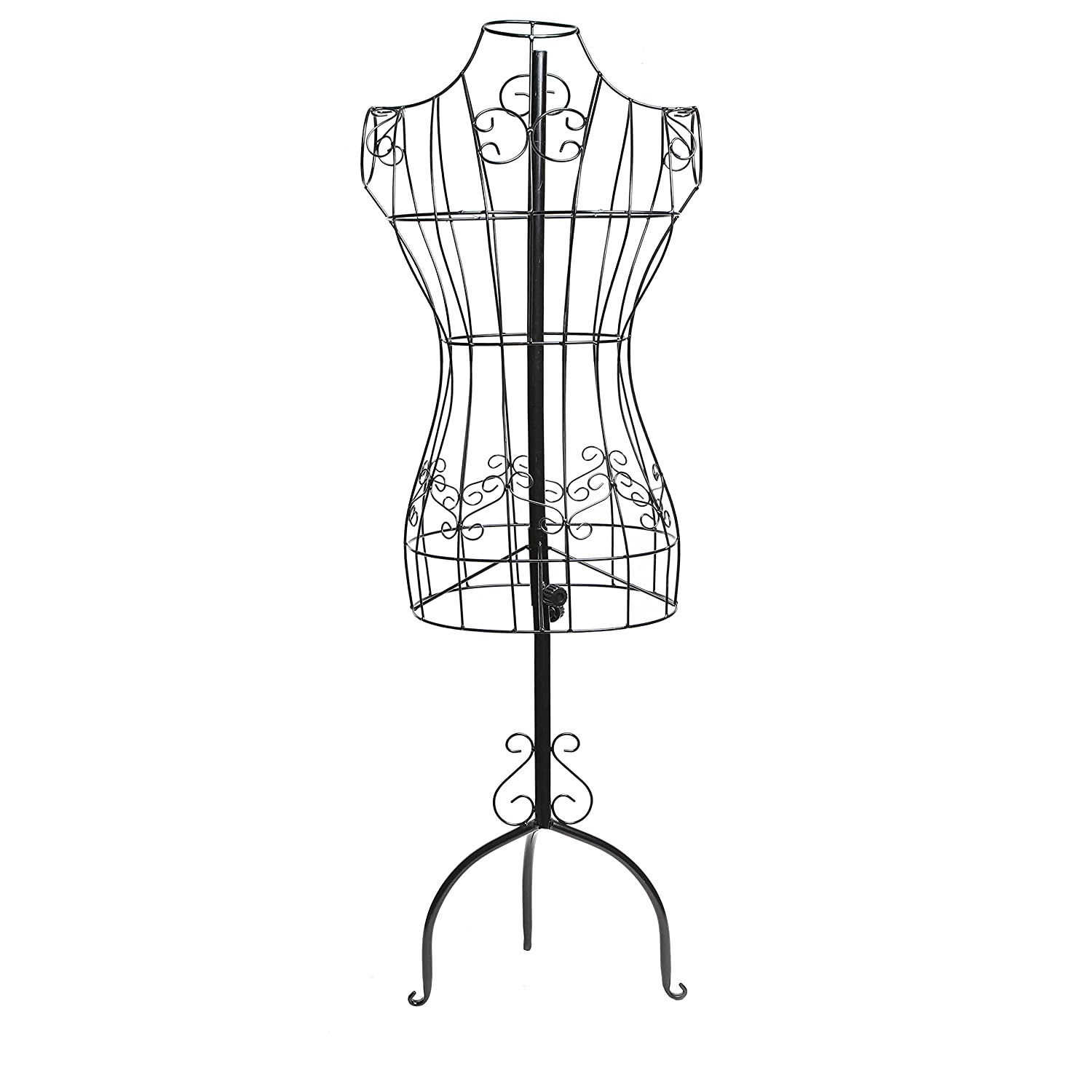 Designers Black Metal Adjustable Height Wire Frame Dress Form