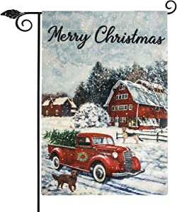 Unves Merry Christmas Garden Flag, Red Truck Double Sided Decorative Merry Christmas Flag 12.5 x 18, Winter Holidays House Farmhouse Yard Outdoor Decor
