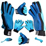 Both Hand Pair Pet Hair Remover Grooming Glove Brush + 2 Toys - For Deshedding - Patting - Brushing - Pet Groomer For Long & Short Hair - Furniture Hair Remover Tool - Fur Remover