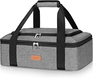 LHZK Insulated Casserole Carrier for Hot or Cold Food, with Upgrade Compartment for Fixing Campping Cutlery, Lasagna Holder Tote for Potluck Parties, Picnic, Beach, Fits 9