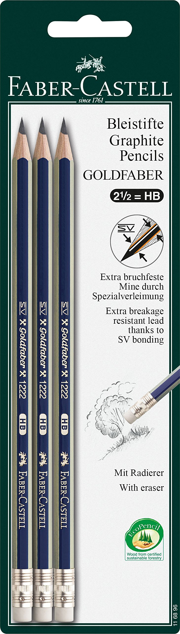 """Faber Castell 116896""""Goldfaber"""" HB Pencil (Pack of 3)"""