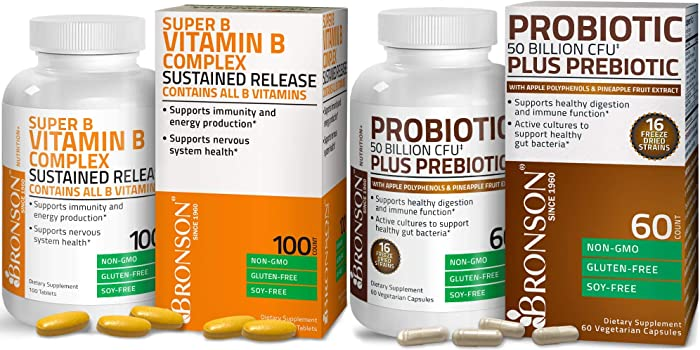 Probiotic 50 Billion CFU + Prebiotic with Apple Polyphenols & Pineapple Fruit Extract + Vitamin B Complex Sustained Release