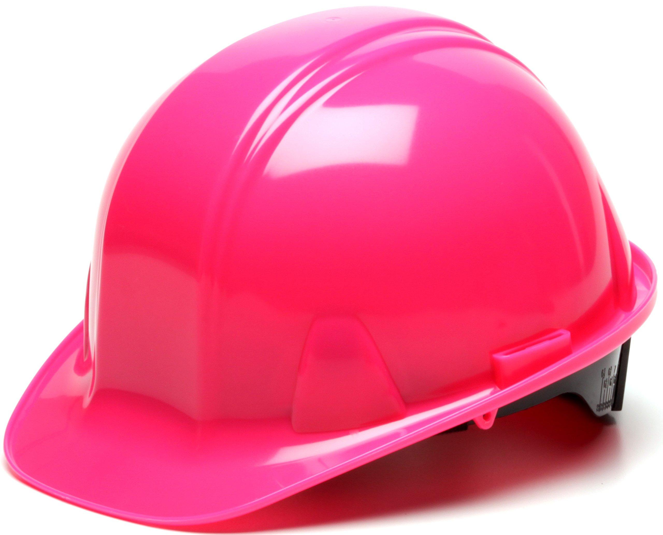 Pyramex Cap Style 4 Point Ratchet Suspension Hard Hat with Rain Trough - Comfortable Low Profile Design, Hi Vis Pink