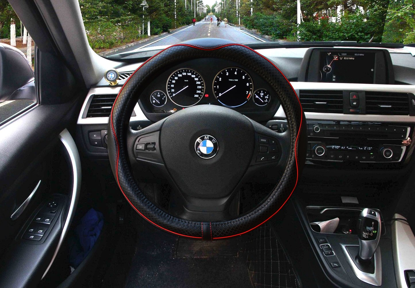 Black with Blue Lines Valleycomfy Steering Wheel Covers Universal 15 inch Genuine Leather Anti Slip /& Odor Free Breathable