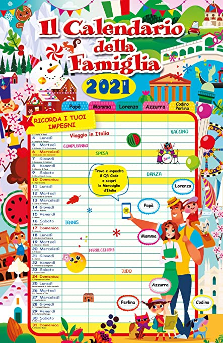 Euro Publishing Calendario Agenda Famiglia 2021 Cm 29 X 44: Amazon