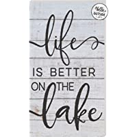 """Kindred Hearts 11""""x20"""" Whitewash/Black Life is Better on The Lake Indoor Outdoor Sign, Multi"""