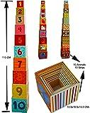 Toys of Wood Oxford Cubes Empilables de bois / pyramide cubes numéro alphabet
