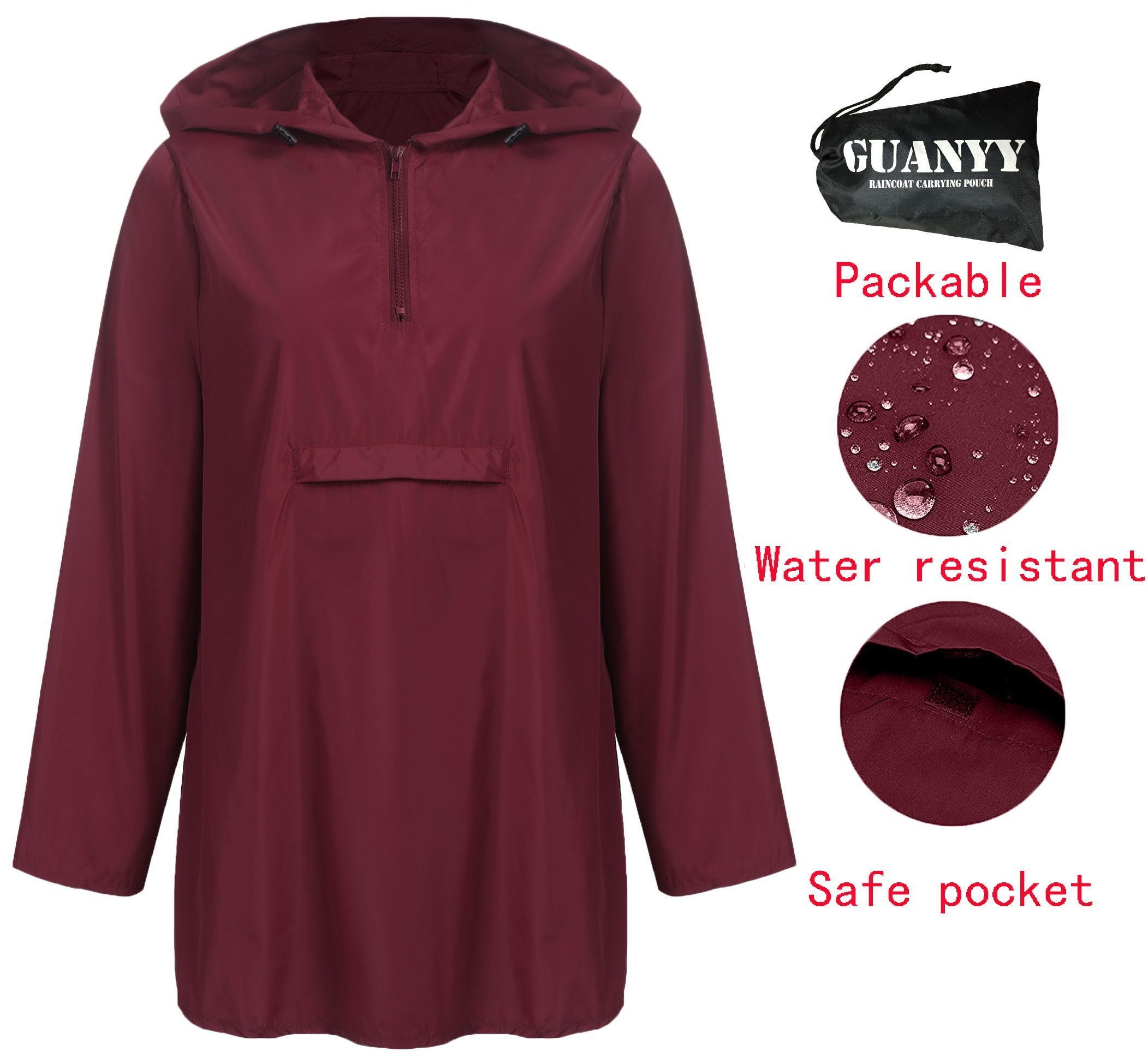 GUANYY Women's Waterproof Raincoat Outdoor Hooded Lightweight Windbreaker Jacket(Wine Red,Large)