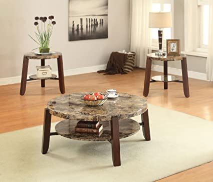 Acme Furniture 81498 Cecil Coffee Table, Walnut U0026 Brushed Nickel