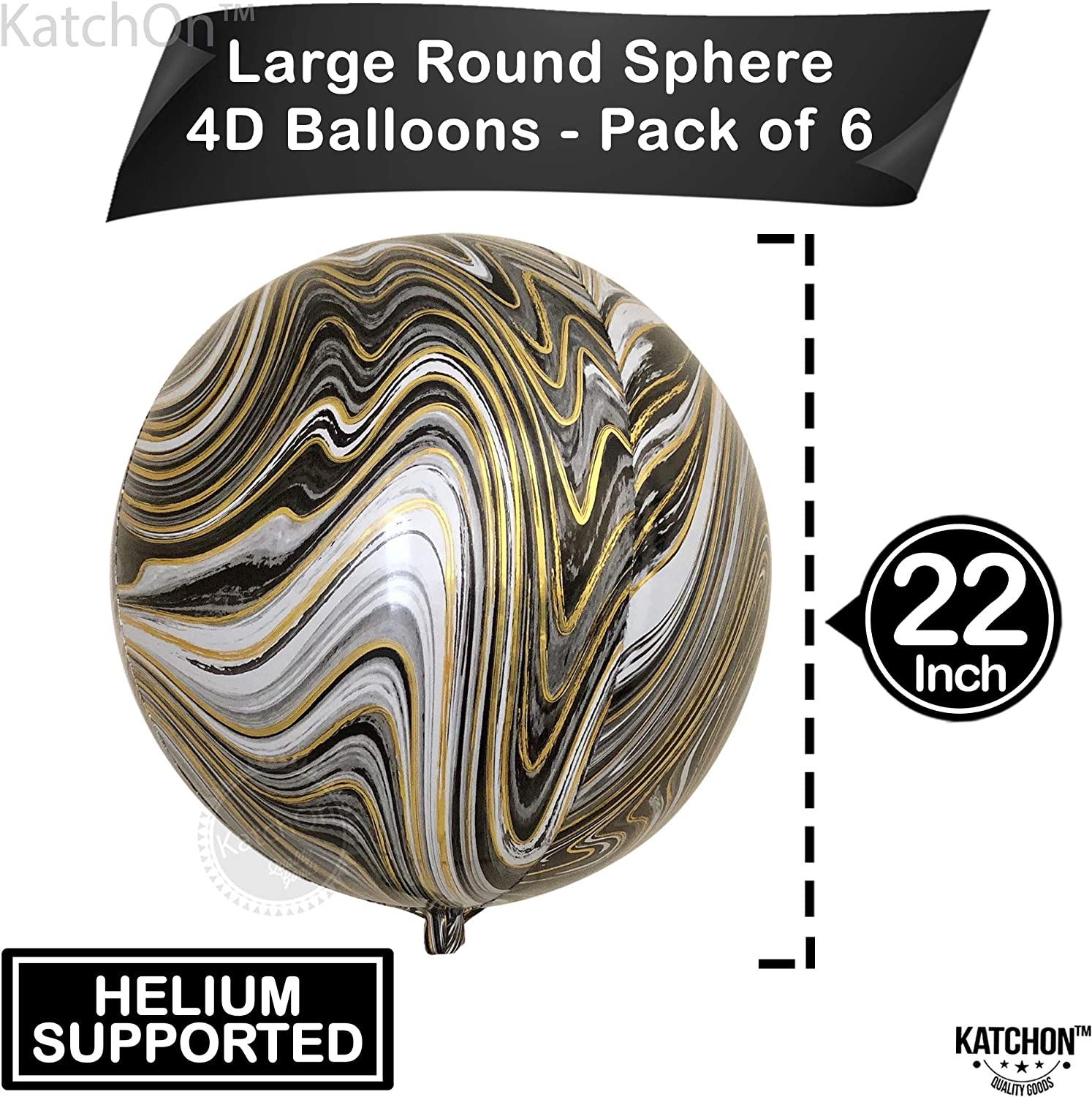 Metallic 4D Round Foil Balloons for Birthday Bachelorette Agate Black Balloons Pack of 6 Black 360 Degree Sphere Marble Balloons Large Graduation 22 Inch Black and Silver Marble Balloons