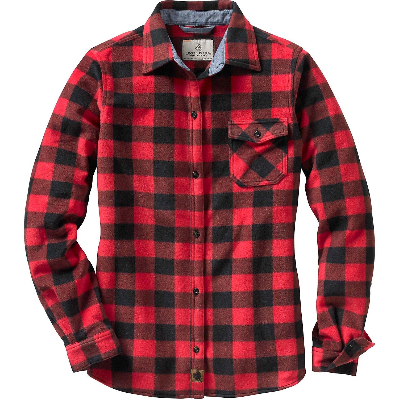 Legendary Whitetails Ladies Trail Guide Fleece Button Up Shotgun Shell Red Medium by Legendary Whitetails