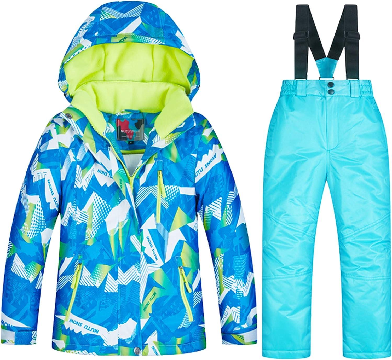 LPATTERN Combinaison de Ski Fille Gar/çon Veste /à Capuche Pantalons de Ski Enfant 2PCS Ensemble de Ski Manteau de Coton Fibre Salopettes de Ski Hiver Veste Snowsuit