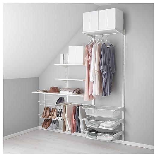 IKEA Algot - pared vertical/estantes/pantalón percha blanco ...