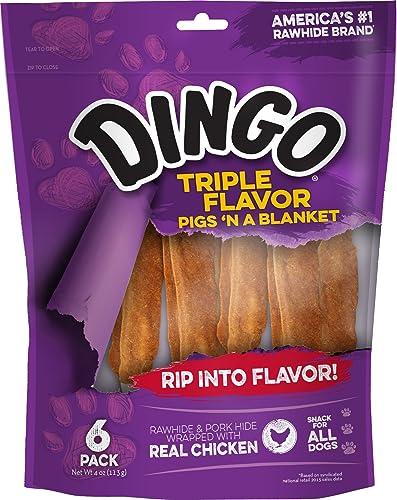 Dingo Triple Flavor Pigs N A Blanket Rawhide, 6-Count