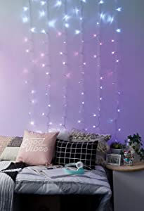 Merkury Innovations Cascading LED Window Curtain String Lights Wedding Party Home Garden Bedroom Outdoor Indoor Wall Decorations, Pink Ombre Lights
