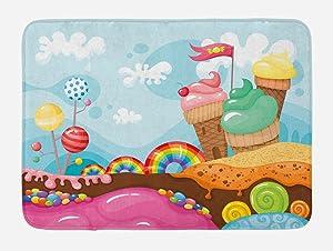 Ambesonne Ice Cream Bath Mat, Dessert Land with Rainbow Candies Lollipop Trees and Cupcake Mountains Cartoon, Plush Bathroom Decor Mat with Non Slip Backing, 29.5