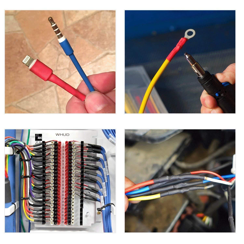 4 couleurs 8 tailles Lot de 328 gaines thermor/étractables 2:1 Isolation retardateur de flamme gaine thermor/étractable pour r/éparation de ligne de donn/ées DIY