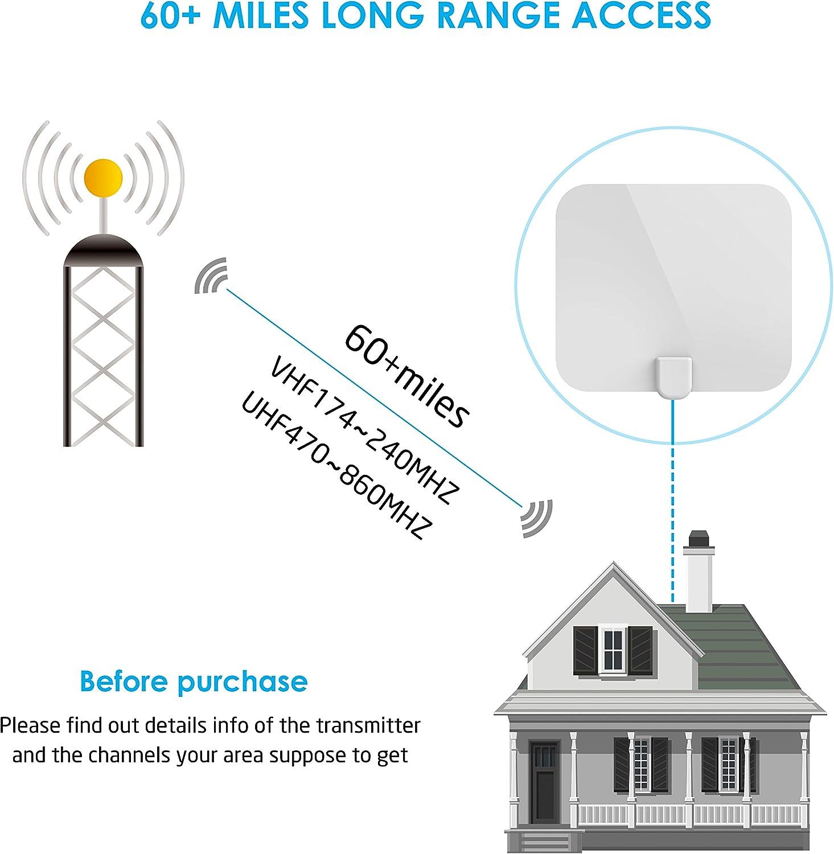 Omew Antena de TV interior para TDT digital y HDTV de m/ás de 60 millas de alcance con amplificador de se/ñal desmontable y cable coaxial de 13.2 pies 25 x 22 x 0,06 CM Blanco