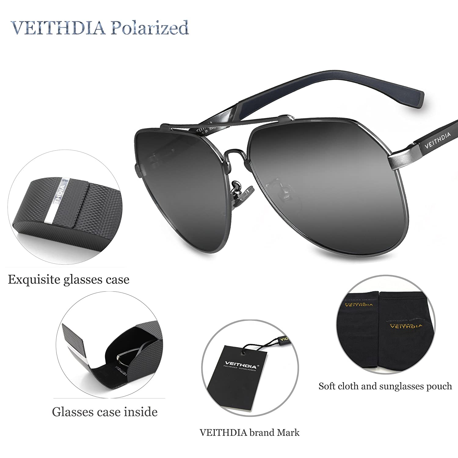 70b1a335ded Amazon.com  VEITHDIA 3598 Adjustable HD Polarized Aviator Sunglasses for Fishing  Driving (Grey