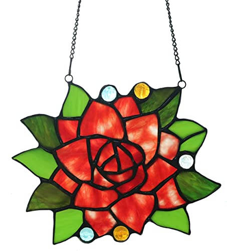 Yaloyi Tiffany Style Flower Red Rose Stained Glass Windows hangings Flower Suncatchers for Window