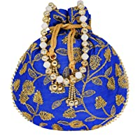 Bagaholics Ethnic Silk Potli bag Clutch Batwa Pouch with Embroidery and Metal Bead work Gift For Women