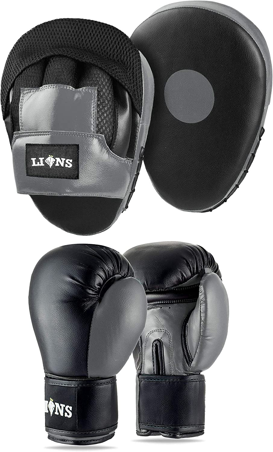 Hook /& Jab Mitts Sparring Gloves Set Mma Punch Bag Training Kit Lions Boxing Gloves and Pads