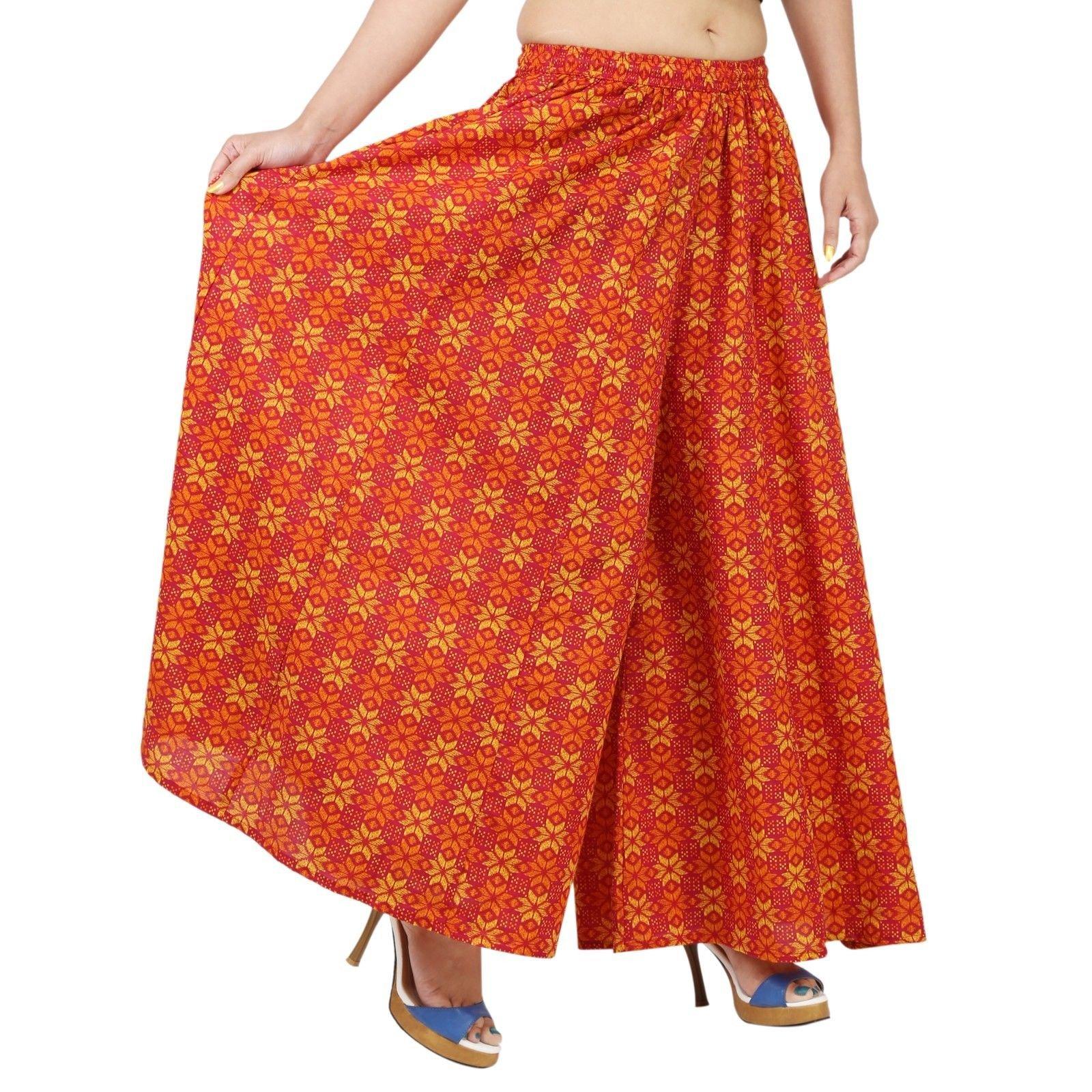 Orange Cotton Extra Wide Leg Pant, Divider Palazzo, Harem, Comfy Skirt