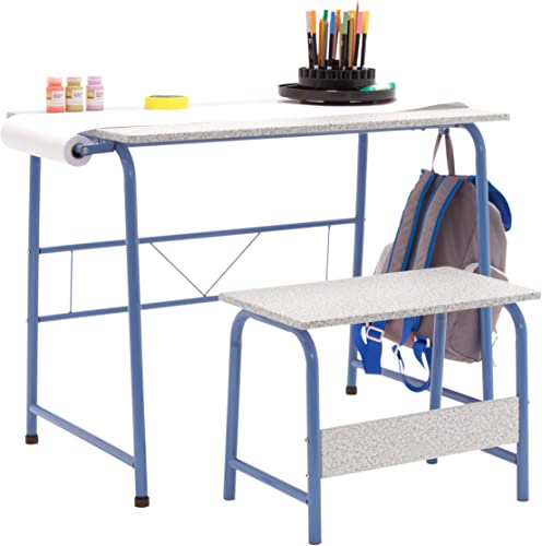 SD Studio Designs Project Center, 55126 Craft Table Play Desk with Bench, Blue Gray