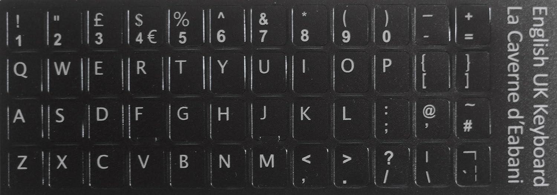 Teclado blanco con letras de color negro, para cualquier teclado.