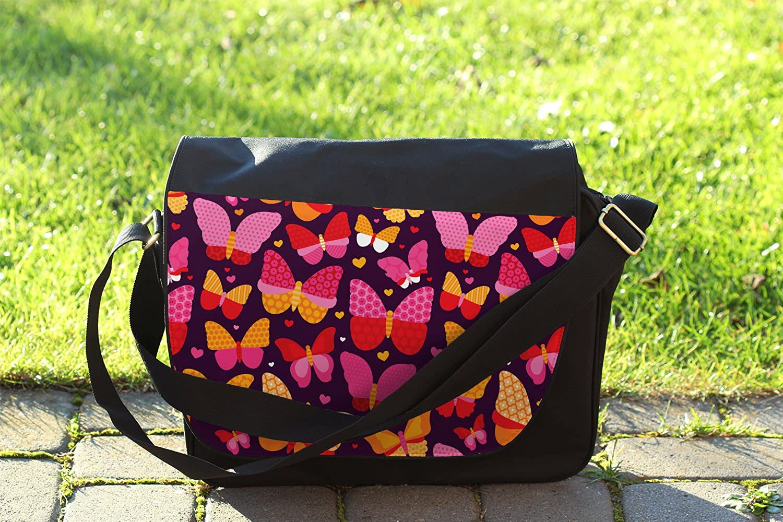 Cross Body Laptop School Work Bag Hot Pink Butterflies Messenger Bag