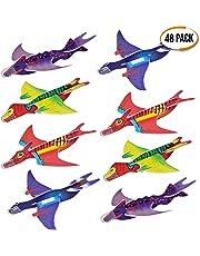 THE TWIDDLERS 48 Aviones planeadores de Dinosaurios - 4 Diseños Distintos - Perfectos para Detalles de Fiesta, Rellenos de Bolsas de Fiesta, premios de Clase, Rellenos de Calcetines.
