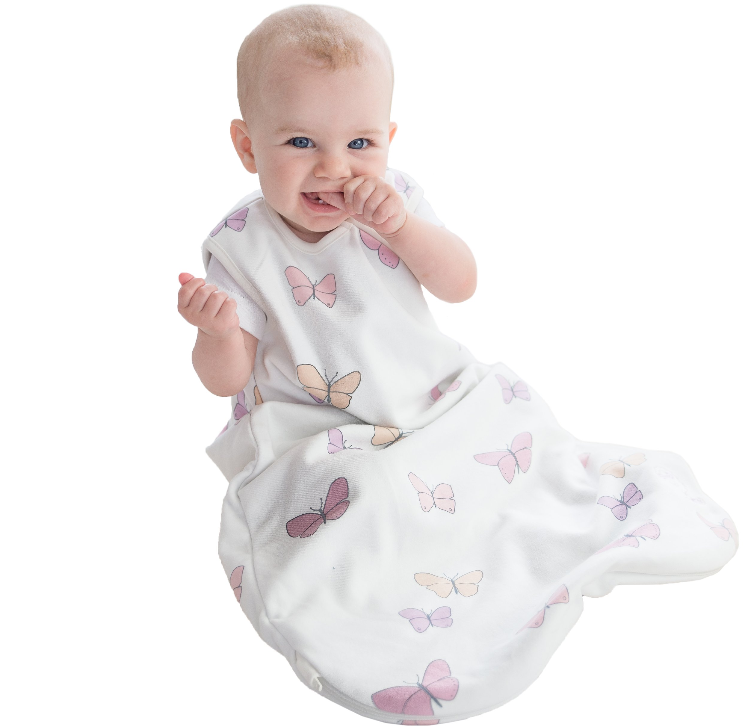 Woolino 4 Season Basic Merino Wool Baby Sleeping Bag, 0-6 Months, Butterfly