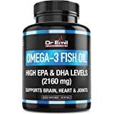 Dr. Emil - Omega 3 Fish Oil (3600mg) - Highest EPA & DHA Levels (2160 mgs) - Burpless with Natural Lemon Flavor - Heart, Brain & Joint Support (90 Softgels)