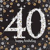 Amscan International Serviettes en papier motif 51154533cm Or Celebration 40e