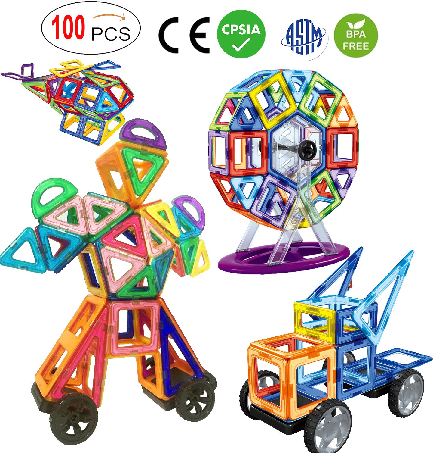 ALL Magnetic Tiles, No Cards,100 Magnetic Blocks Building Toys for Kids,16 different shapes, triangles,squares, archs, sectors, semi circles, Circles, Pentagon, Hexagon,diamonds,trapezoid etc (100 PC)