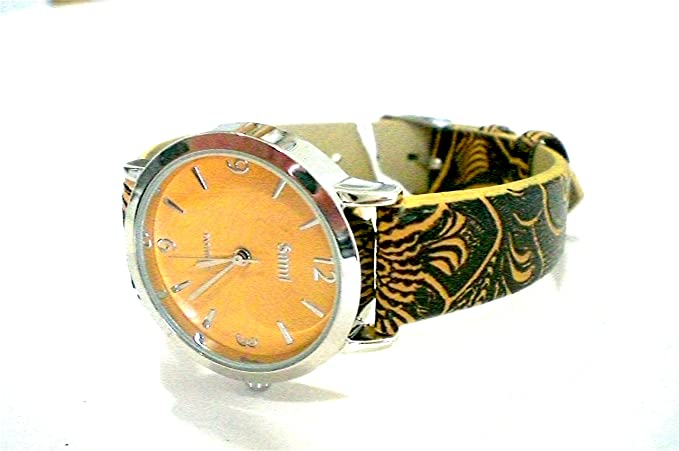 Sami RSM-81210-3 Reloj de Pulsera de Mujer Corona Cristal Correa Piel Marron: Amazon.es: Relojes