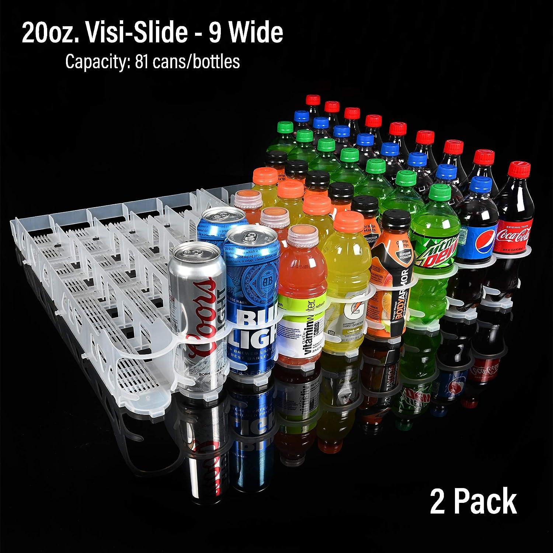 Display Technologies 20 Oz Visi-Slide Beverage Shelf Glide 9 Lanes | Beverage, Cans, Bottle Organizer | Display Shelf Rack for Cold Vaults, Coolers, Fridges | 2 Pack