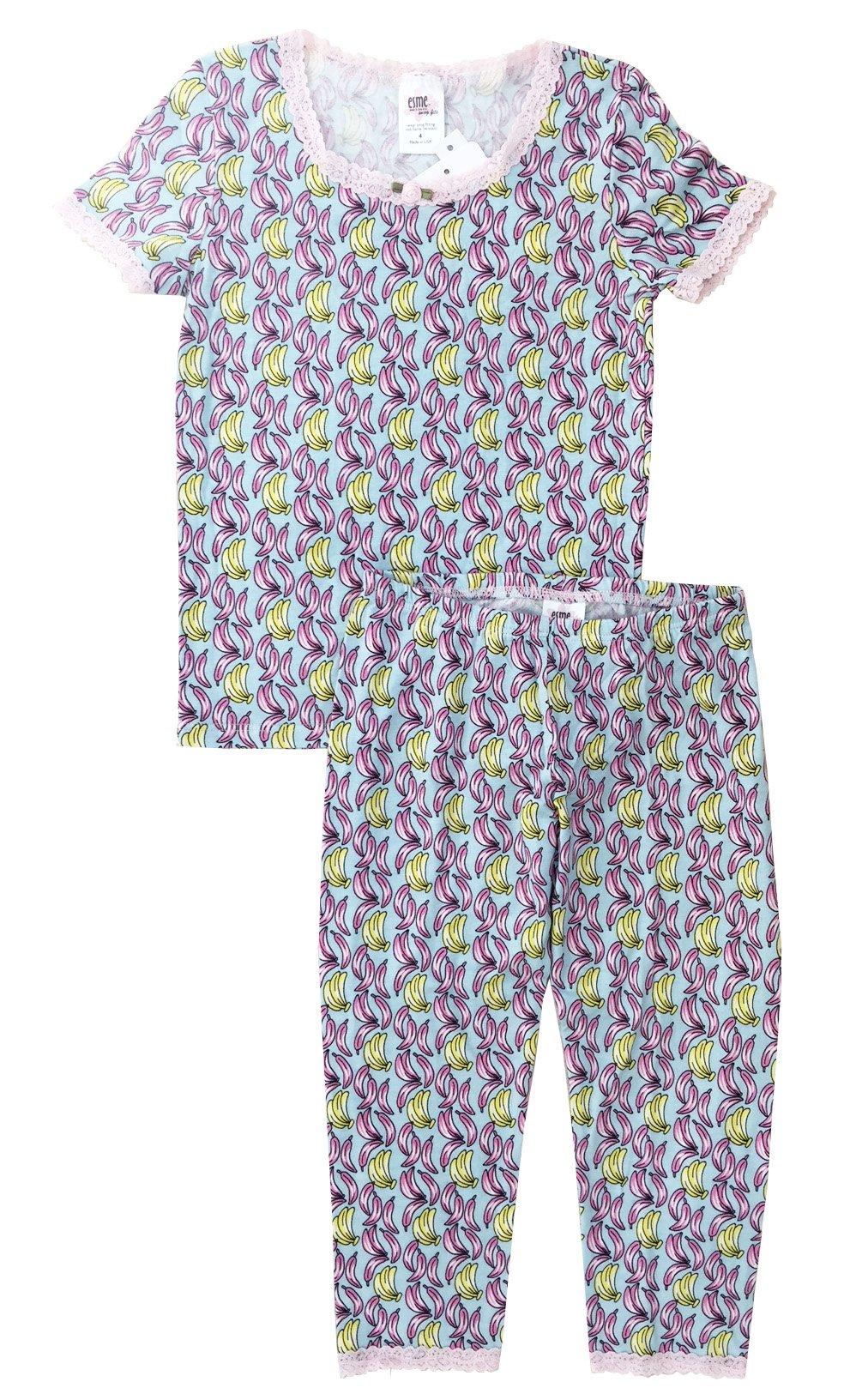 Esme Girl's Sleepwear Short Sleeve Top Leggings Set 5 Banana