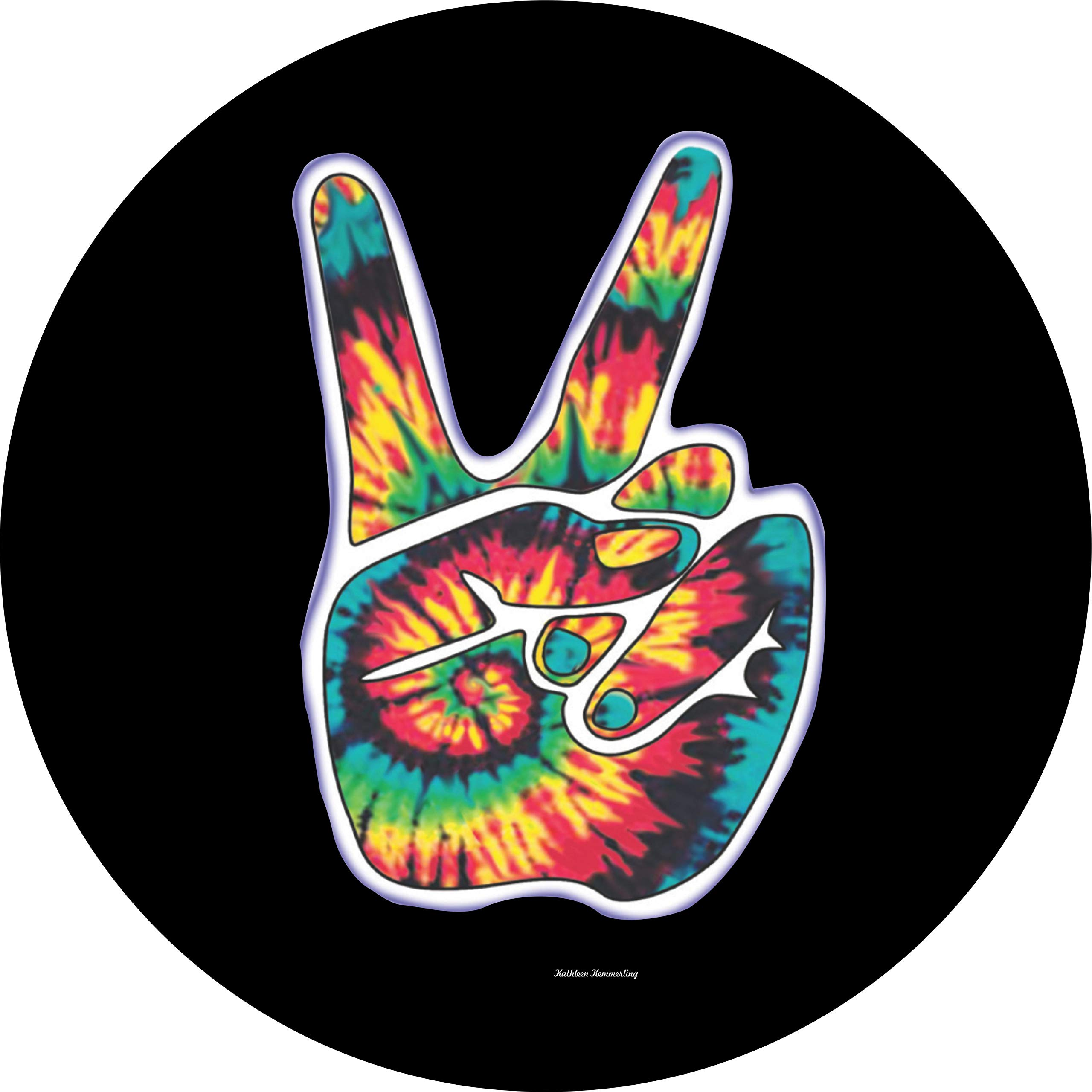 TIRE COVER CENTRAL Peace Sign Hand Tie dye on Black Spare Tire Cover for 235/70R16 fits Camper, Jeep, RV, Scamp, Trailer (Drop Down Size menu by TIRE COVER CENTRAL