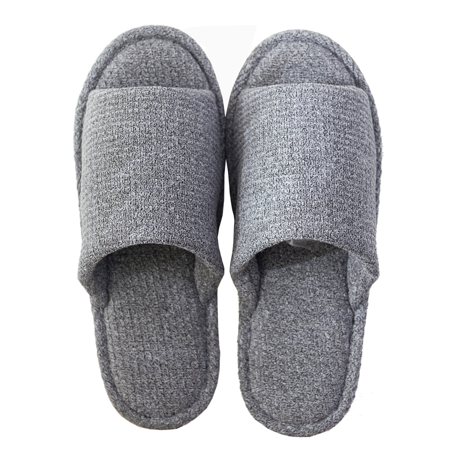 xsby Home Slippers for Men, House Slippers Non-Slip Open Toe Couple Sandals Knitted Cotton Mules Shoes Dark Grey-A 44-45