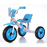 Little Bambino Kids Pedal Trike Stroller Bike for Child and Toddler Boys and Girls Age 3-6 Years Old Outdoor Tricycle with Suspension   Available in Blue / Green / Pink (Blue)