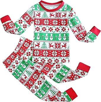 FANCYINN Chicos Chicas Conjuntos de Pijamas de Navidad Niños pequeños Reno Disfraz Manga Larga Ropa de Dormir Traje de Dormir