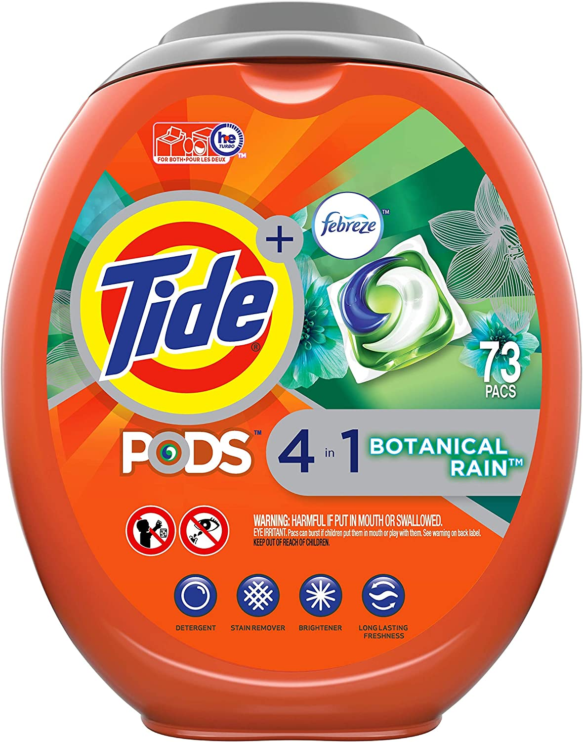 Tide Pods Plus Febreze Liquid Laundry Detergent Pacs, Botanical Rain, 73 Count