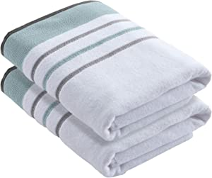 100% Turkish Cotton, Striped Bath Towel Set (30 x 54 inches) Oversized and Absorbent Luxury Quick-Dry Towels. Noelle Collection (Set of 2, Eucalyptus / Grey)