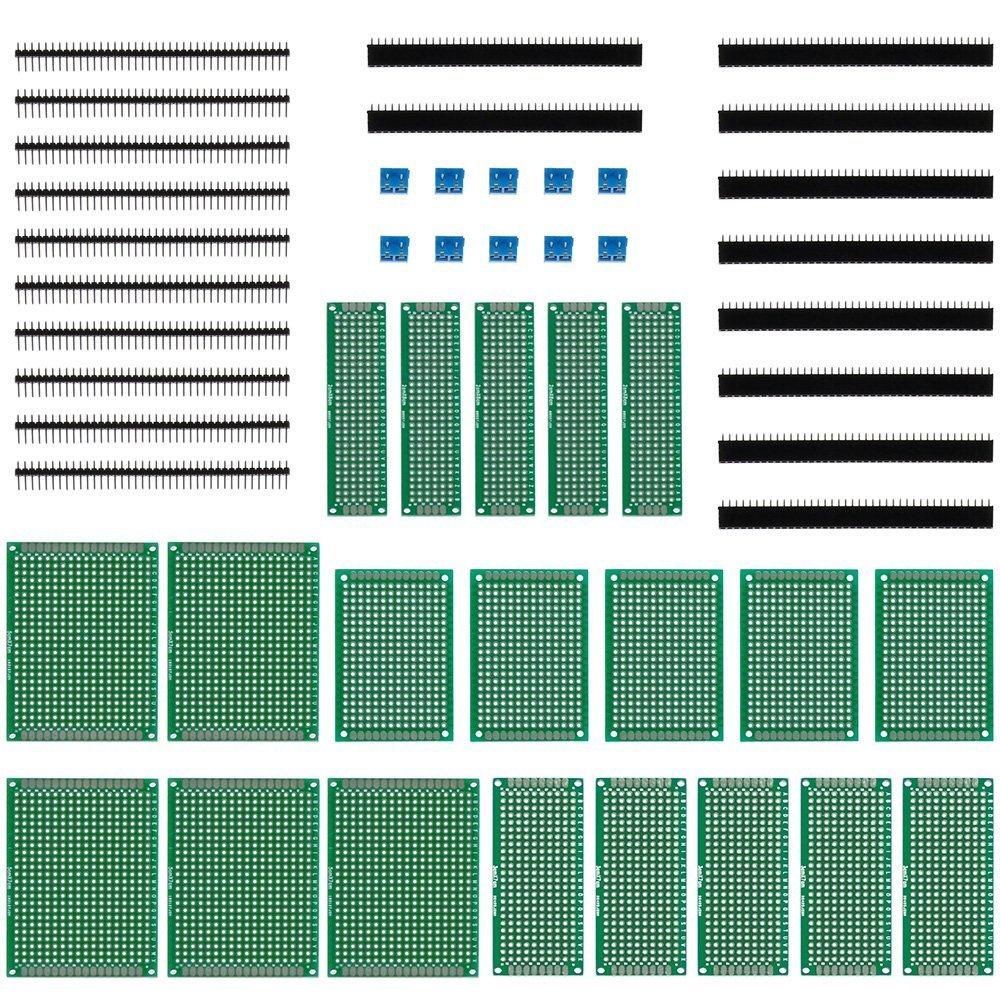 Anpro 20 Placa de circuito impreso (PCB), 4 tamañ os, 5 x 7, 4 x 6, 3 x 7 y 2 x 8 cm, Tablero universal de doble cara, Prototipo. 4 tamaños